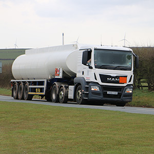 An image of a petrol and diesel delivery tanker
